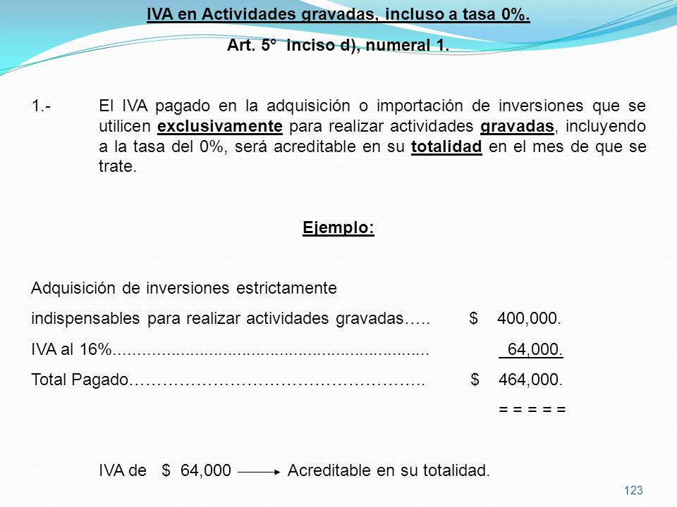 123 IVA en Actividades gravadas, incluso a tasa 0%.