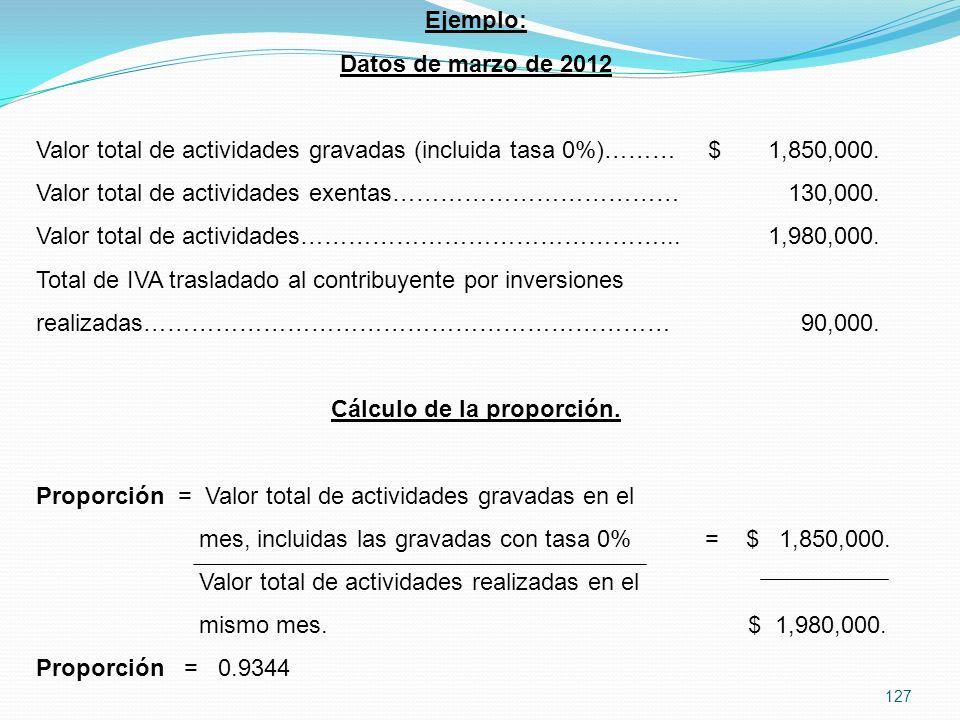 127 Ejemplo: Datos de marzo de 2012 Valor total de actividades gravadas (incluida tasa 0%)………$ 1,850,000.