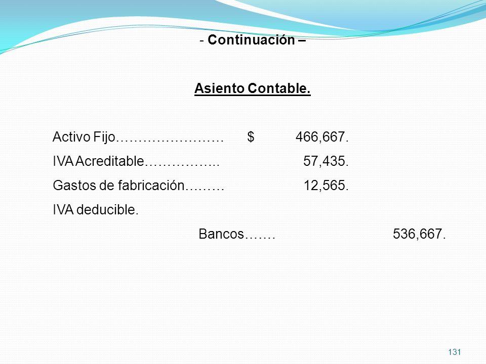 131 - Continuación – Asiento Contable.Activo Fijo……………………$466,667.