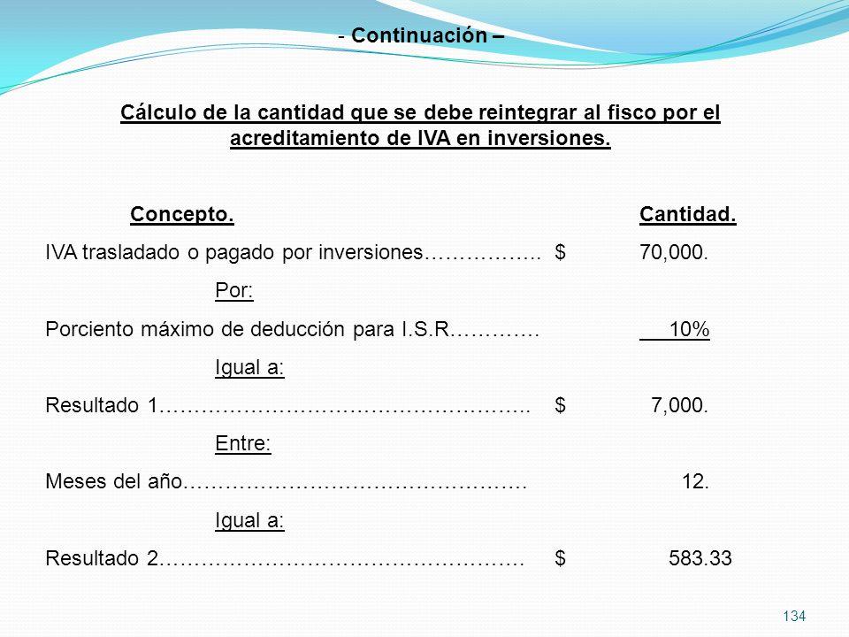 134 - Continuación – Cálculo de la cantidad que se debe reintegrar al fisco por el acreditamiento de IVA en inversiones.