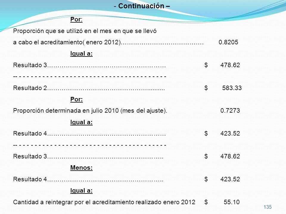 135 - Continuación – Por: Proporción que se utilizó en el mes en que se llevó a cabo el acreditamiento( enero 2012)………………………………….