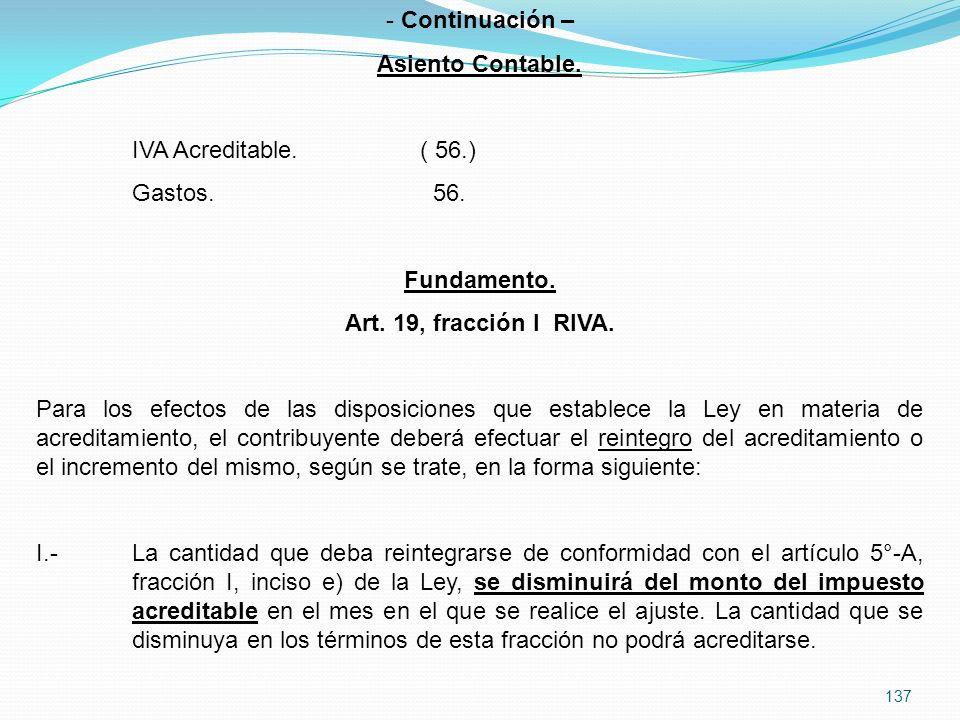 137 - Continuación – Asiento Contable.IVA Acreditable.( 56.) Gastos.