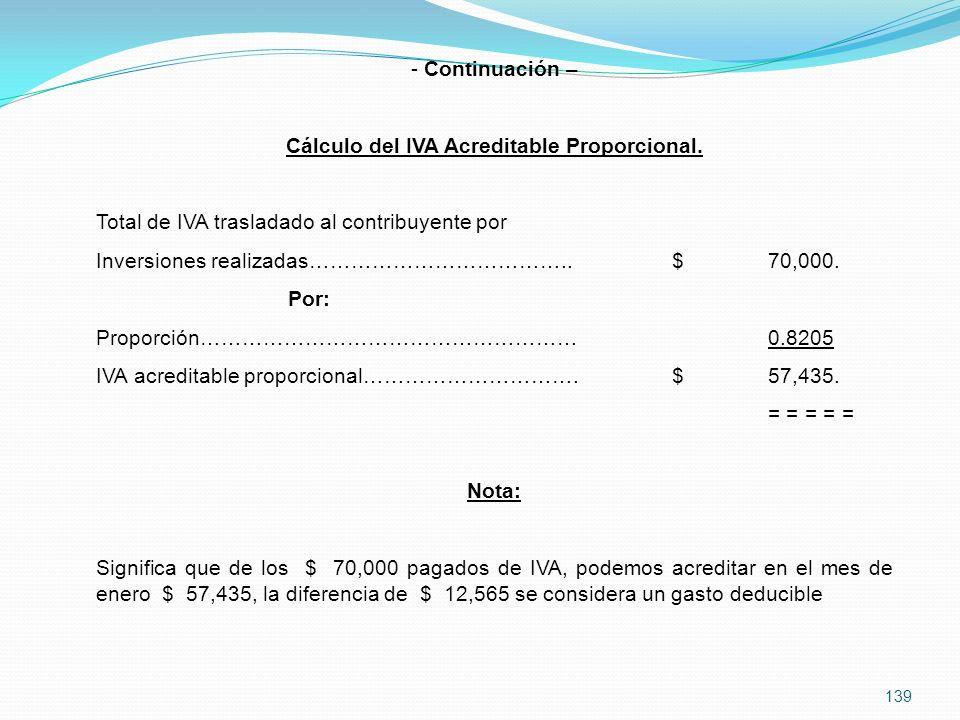 139 - Continuación – Cálculo del IVA Acreditable Proporcional.