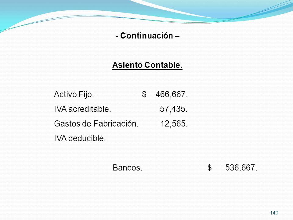 140 - Continuación – Asiento Contable.Activo Fijo.$ 466,667.