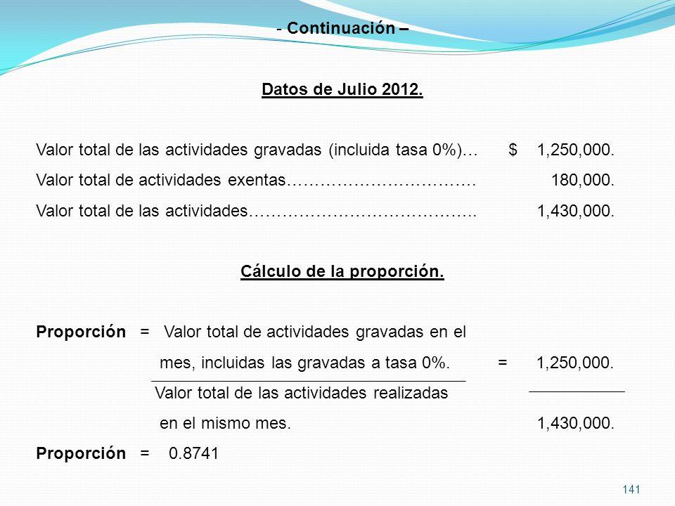141 - Continuación – Datos de Julio 2012.