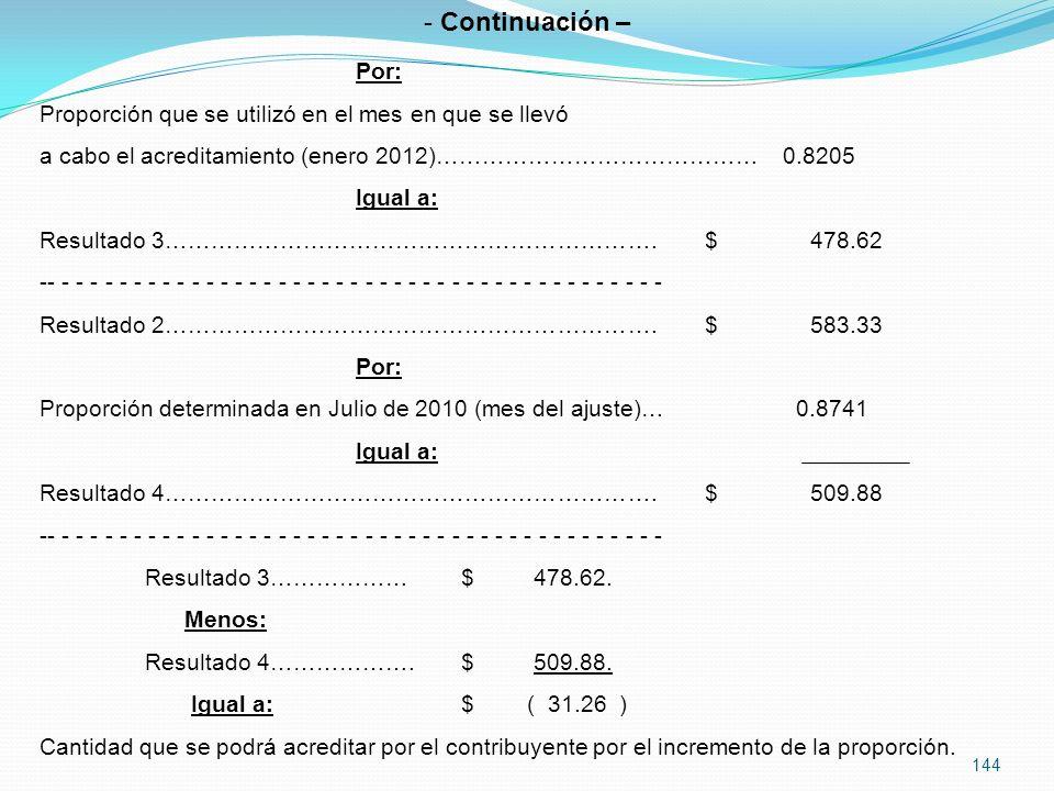 144 - Continuación – Por: Proporción que se utilizó en el mes en que se llevó a cabo el acreditamiento (enero 2012)…………………………………… 0.8205 Igual a: Resultado 3……………………………………………………….