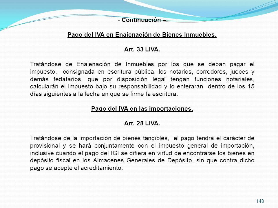 148 - Continuación – Pago del IVA en Enajenación de Bienes Inmuebles.