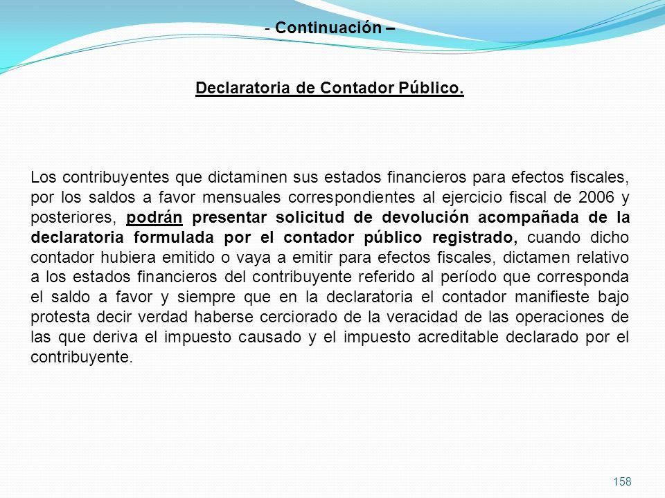 158 - Continuación – Declaratoria de Contador Público.