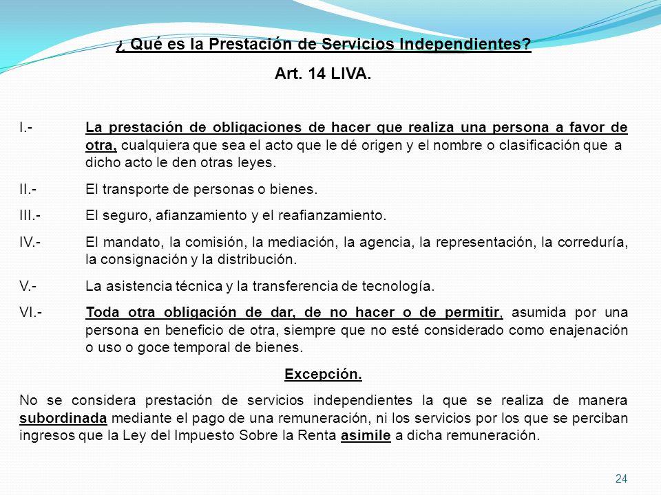 24 ¿ Qué es la Prestación de Servicios Independientes.