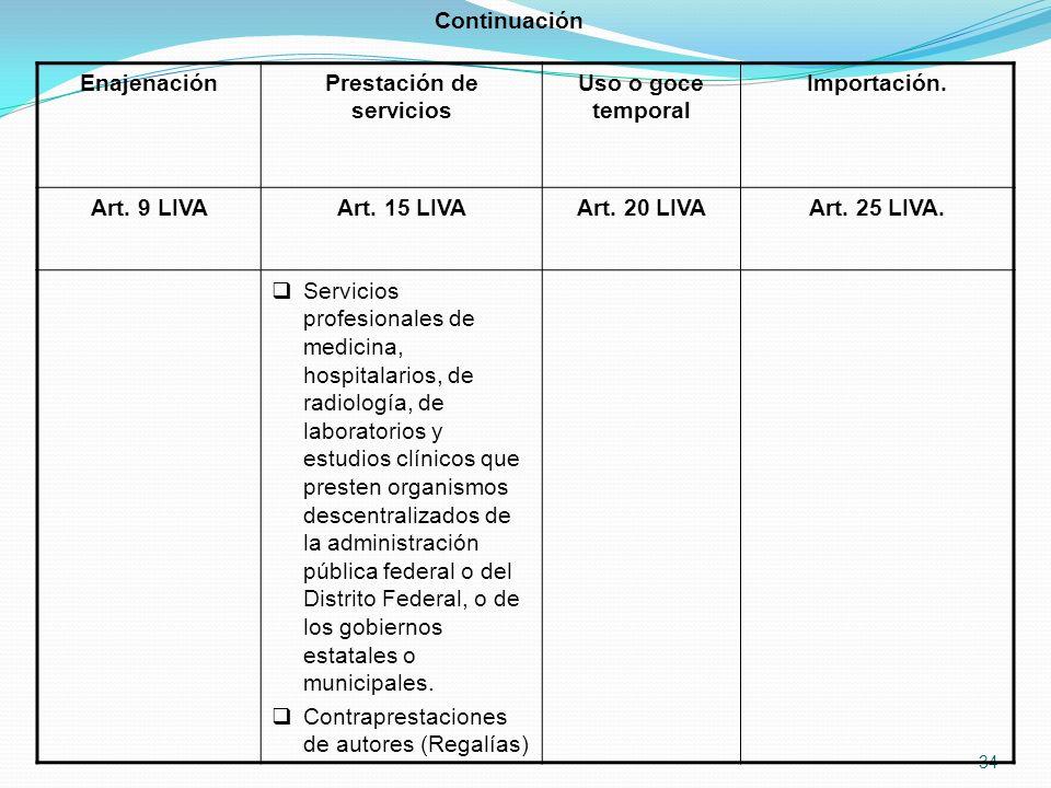 34 EnajenaciónPrestación de servicios Uso o goce temporal Importación.