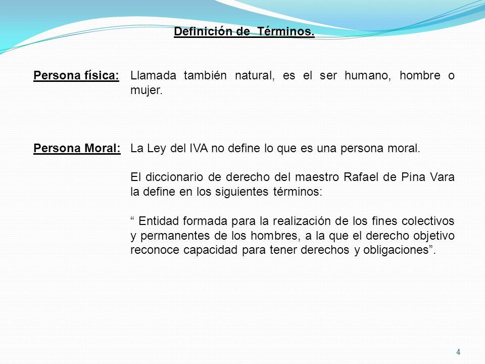 4 Definición de Términos.Persona física:Llamada también natural, es el ser humano, hombre o mujer.
