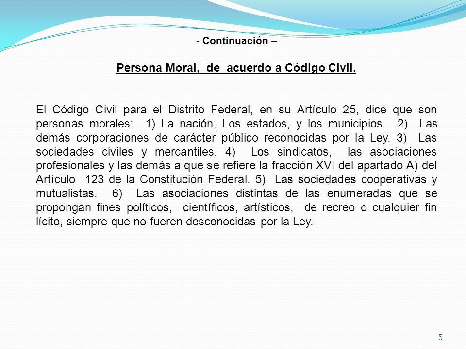 5 - Continuación – Persona Moral, de acuerdo a Código Civil.