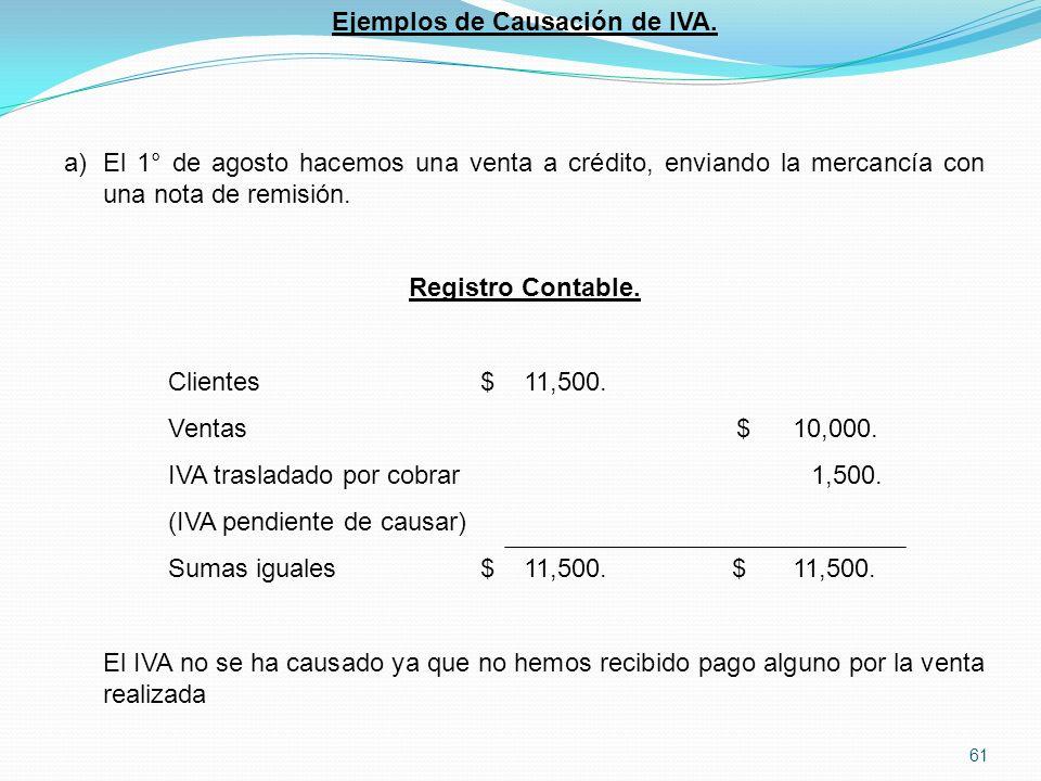 61 Ejemplos de Causación de IVA.