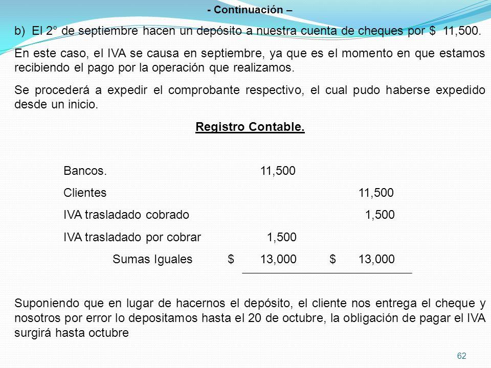 62 - Continuación – b) El 2° de septiembre hacen un depósito a nuestra cuenta de cheques por $ 11,500.