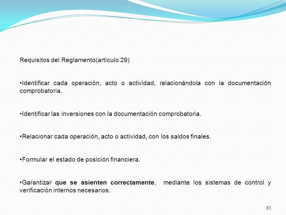 81 Requisitos del Reglamento(artículo 29) Identificar cada operación, acto o actividad, relacionándola con la documentación comprobatoria.