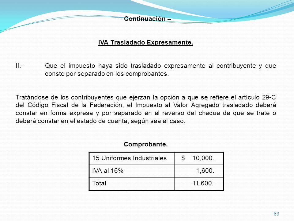 83 - Continuación – IVA Trasladado Expresamente.