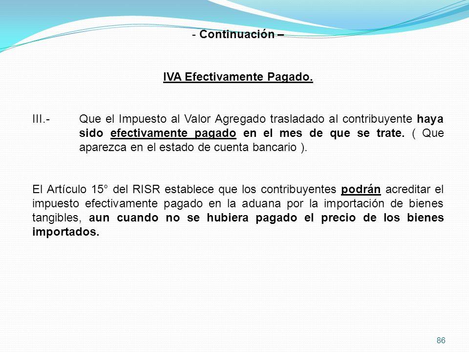 86 - Continuación – IVA Efectivamente Pagado.