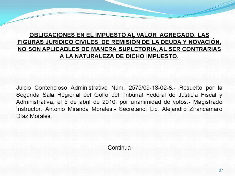 87 OBLIGACIONES EN EL IMPUESTO AL VALOR AGREGADO.