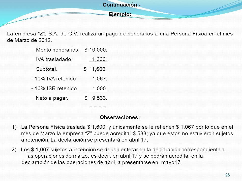 96 - Continuación - Ejemplo: La empresa Z, S.A.de C.V.