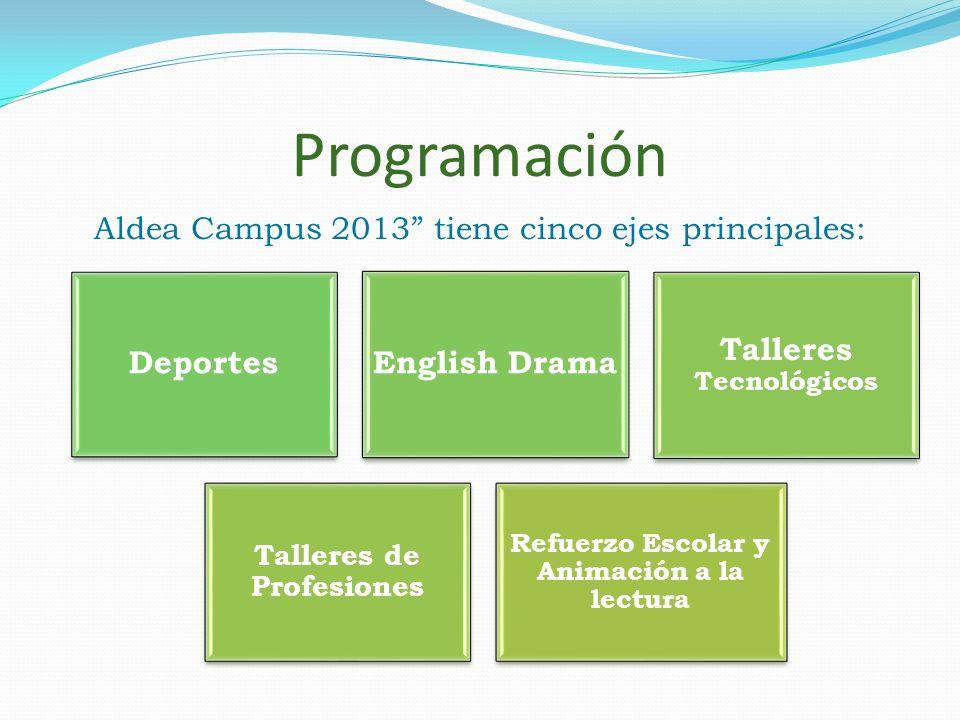 Programación Aldea Campus 2013 tiene cinco ejes principales: DeportesEnglish Drama Talleres Tecnológicos Talleres de Profesiones Refuerzo Escolar y An