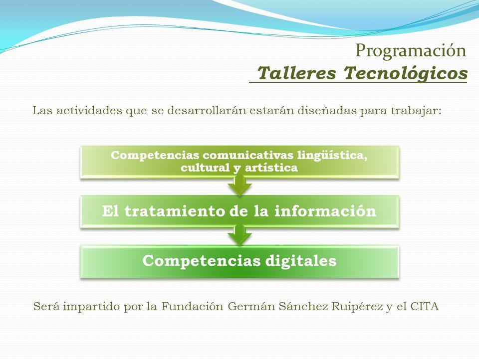 Las actividades que se desarrollarán estarán diseñadas para trabajar: Competencias digitales El tratamiento de la información Competencias comunicativ