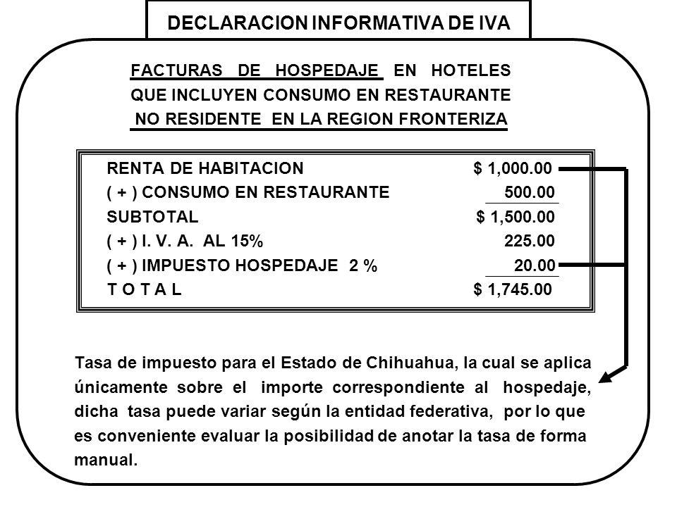 DECLARACION INFORMATIVA DE IVA FACTURAS DE HOSPEDAJE EN HOTELES QUE INCLUYEN CONSUMO EN RESTAURANTE NO RESIDENTE EN LA REGION FRONTERIZA RENTA DE HABI