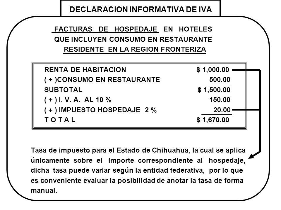 DECLARACION INFORMATIVA DE IVA FACTURAS DE HOSPEDAJE EN HOTELES QUE INCLUYEN CONSUMO EN RESTAURANTE RESIDENTE EN LA REGION FRONTERIZA RENTA DE HABITAC