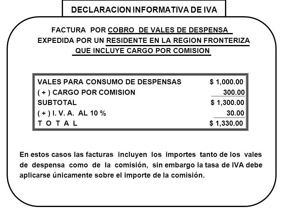 DECLARACION INFORMATIVA DE IVA FACTURA POR COBRO DE VALES DE DESPENSA EXPEDIDA POR UN RESIDENTE EN LA REGION FRONTERIZA QUE INCLUYE CARGO POR COMISION