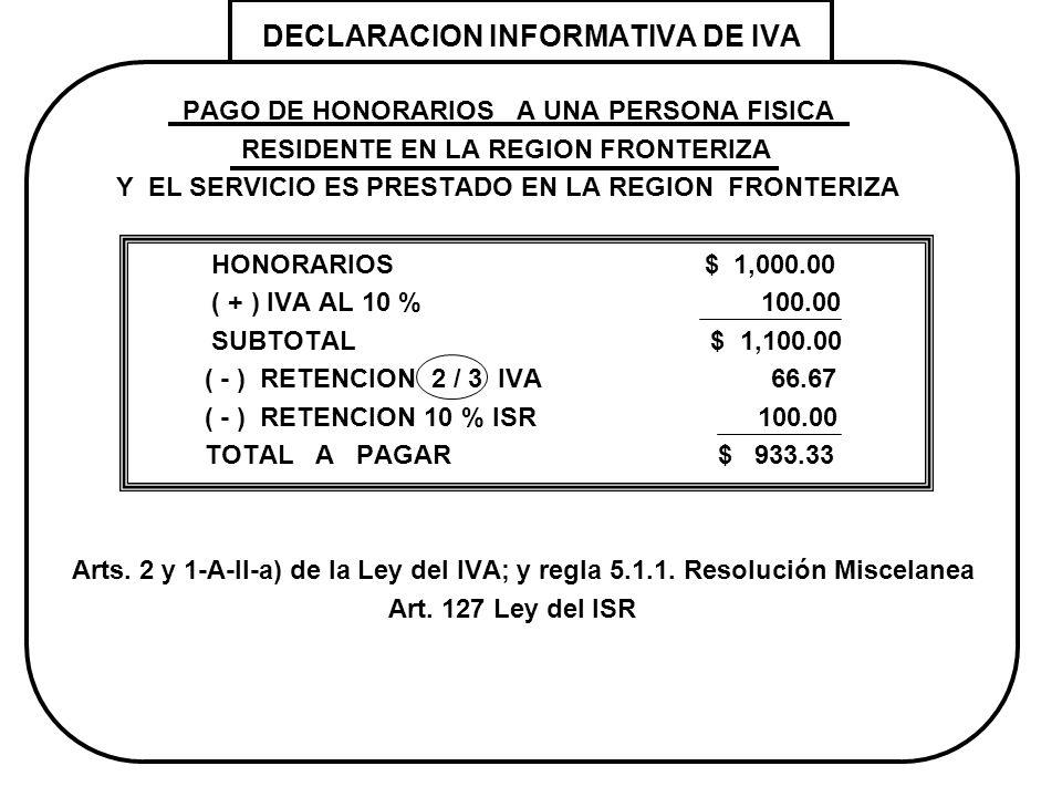 DECLARACION INFORMATIVA DE IVA PAGO DE HONORARIOS A UNA PERSONA FISICA RESIDENTE EN LA REGION FRONTERIZA Y EL SERVICIO ES PRESTADO EN LA REGION FRONTE