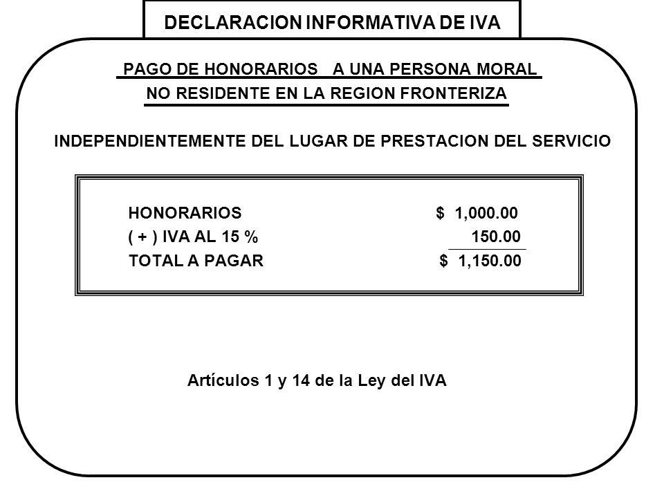 DECLARACION INFORMATIVA DE IVA PAGO DE HONORARIOS A UNA PERSONA MORAL NO RESIDENTE EN LA REGION FRONTERIZA INDEPENDIENTEMENTE DEL LUGAR DE PRESTACION