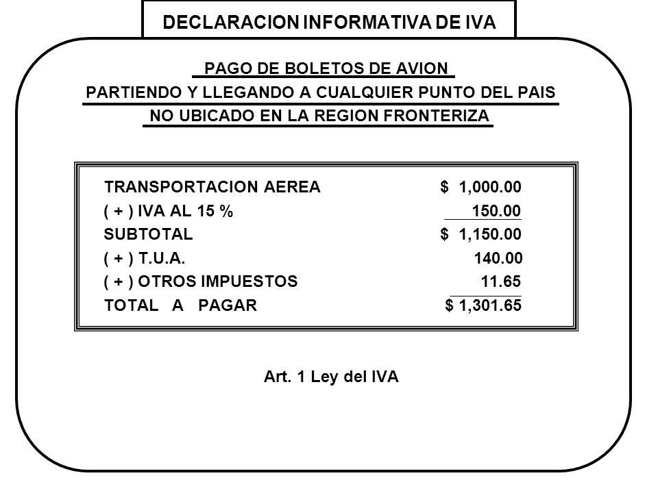 DECLARACION INFORMATIVA DE IVA PAGO DE BOLETOS DE AVION PARTIENDO Y LLEGANDO A CUALQUIER PUNTO DEL PAIS NO UBICADO EN LA REGION FRONTERIZA TRANSPORTAC