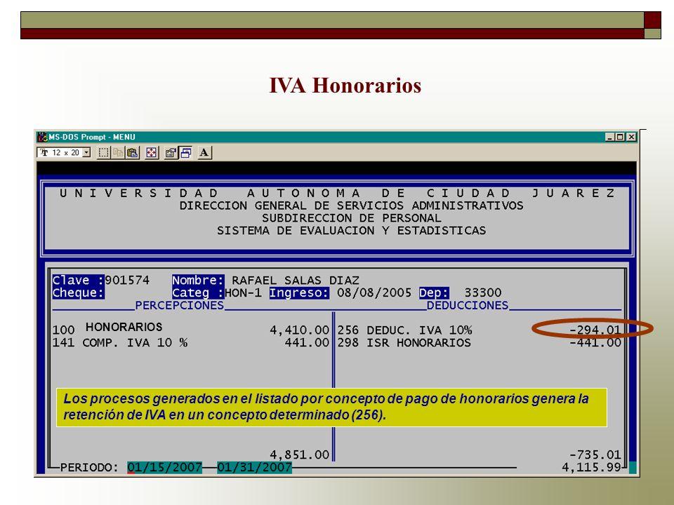 IVA Honorarios Los procesos generados en el listado por concepto de pago de honorarios genera la retención de IVA en un concepto determinado (256). HO