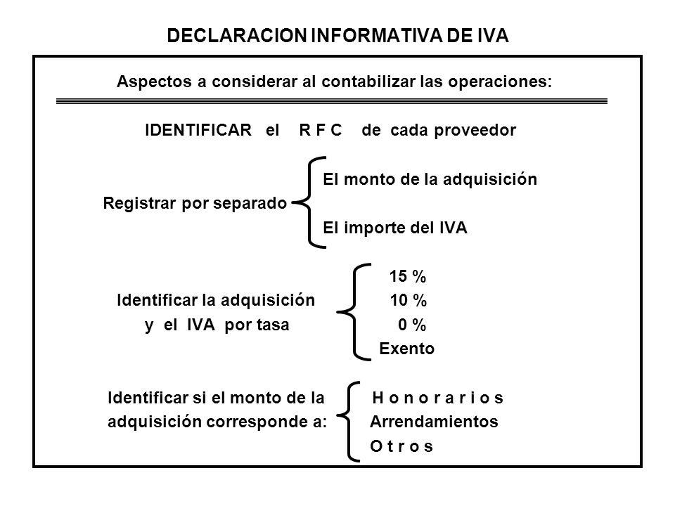 DECLARACION INFORMATIVA DE IVA Aspectos a considerar al contabilizar las operaciones: IDENTIFICAR el R F C de cada proveedor El monto de la adquisició
