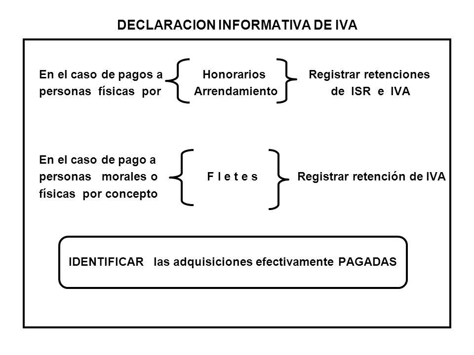 DECLARACION INFORMATIVA DE IVA En el caso de pagos a Honorarios Registrar retenciones personas físicas por Arrendamiento de ISR e IVA En el caso de pa