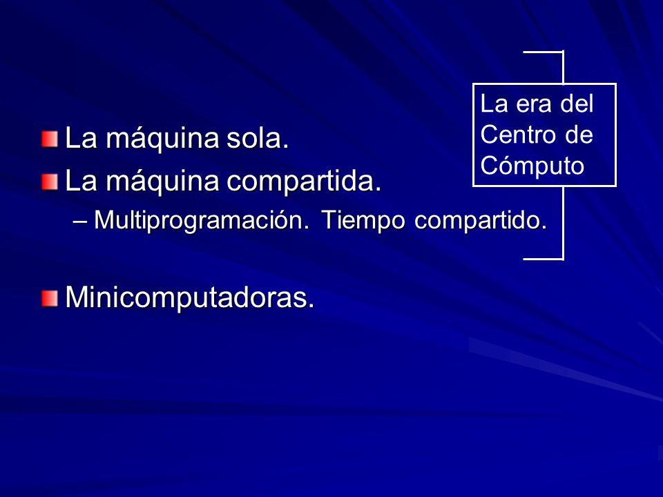 La máquina sola. La máquina compartida. –Multiprogramación. Tiempo compartido. Minicomputadoras. La era del Centro de Cómputo