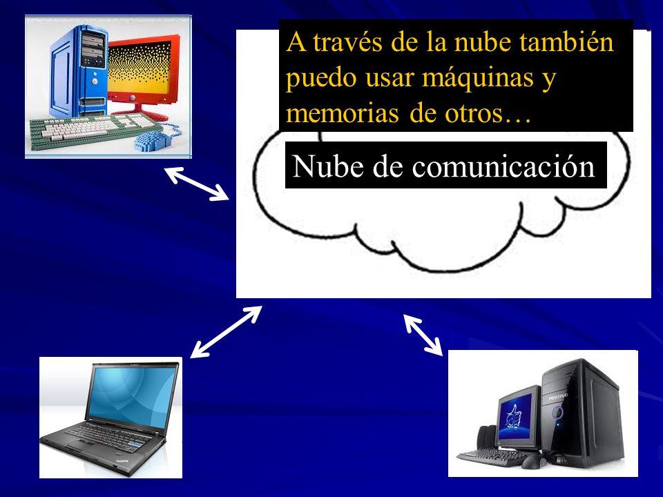 Nube de comunicación A través de la nube también puedo usar máquinas y memorias de otros…