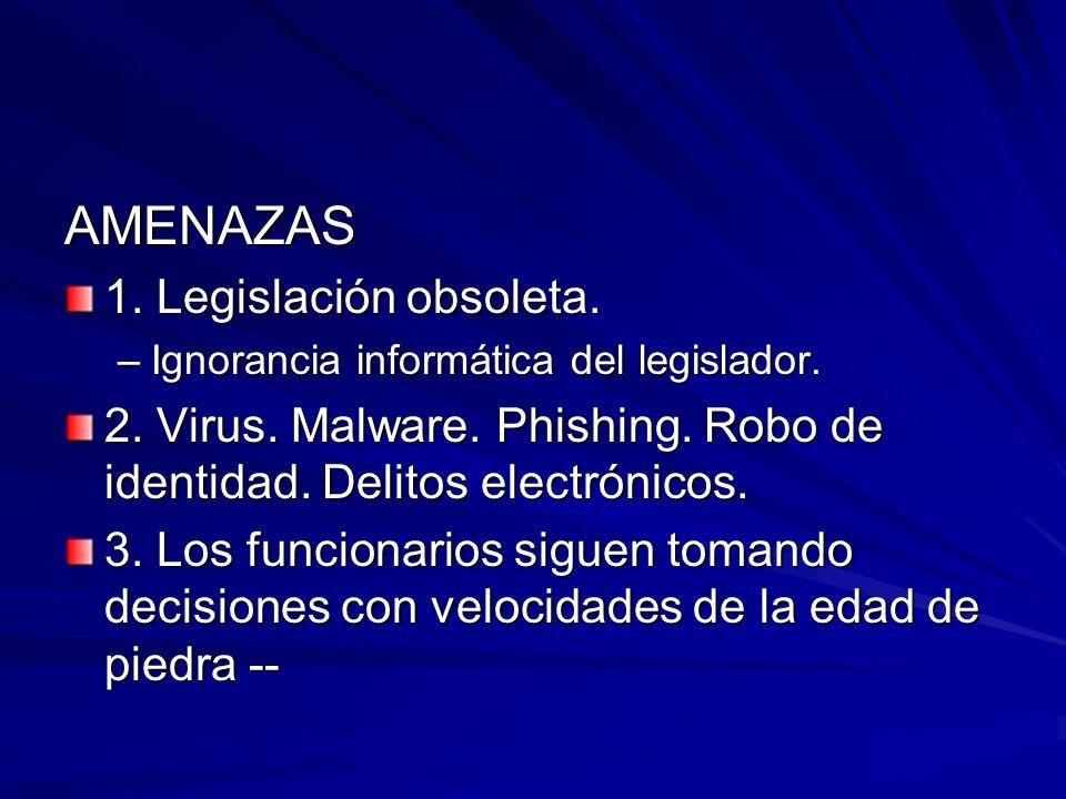 AMENAZAS 1. Legislación obsoleta. –Ignorancia informática del legislador. 2. Virus. Malware. Phishing. Robo de identidad. Delitos electrónicos. 3. Los