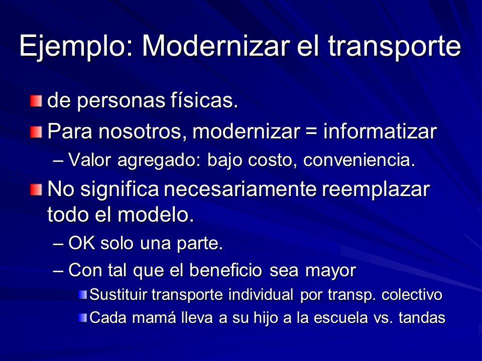 Ejemplo: Modernizar el transporte de personas físicas. Para nosotros, modernizar = informatizar –Valor agregado: bajo costo, conveniencia. No signific