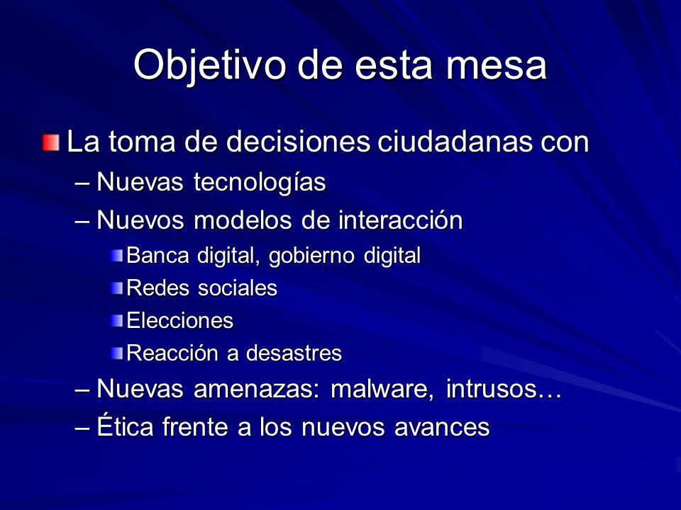 Objetivo de esta mesa La toma de decisiones ciudadanas con –Nuevas tecnologías –Nuevos modelos de interacción Banca digital, gobierno digital Redes so