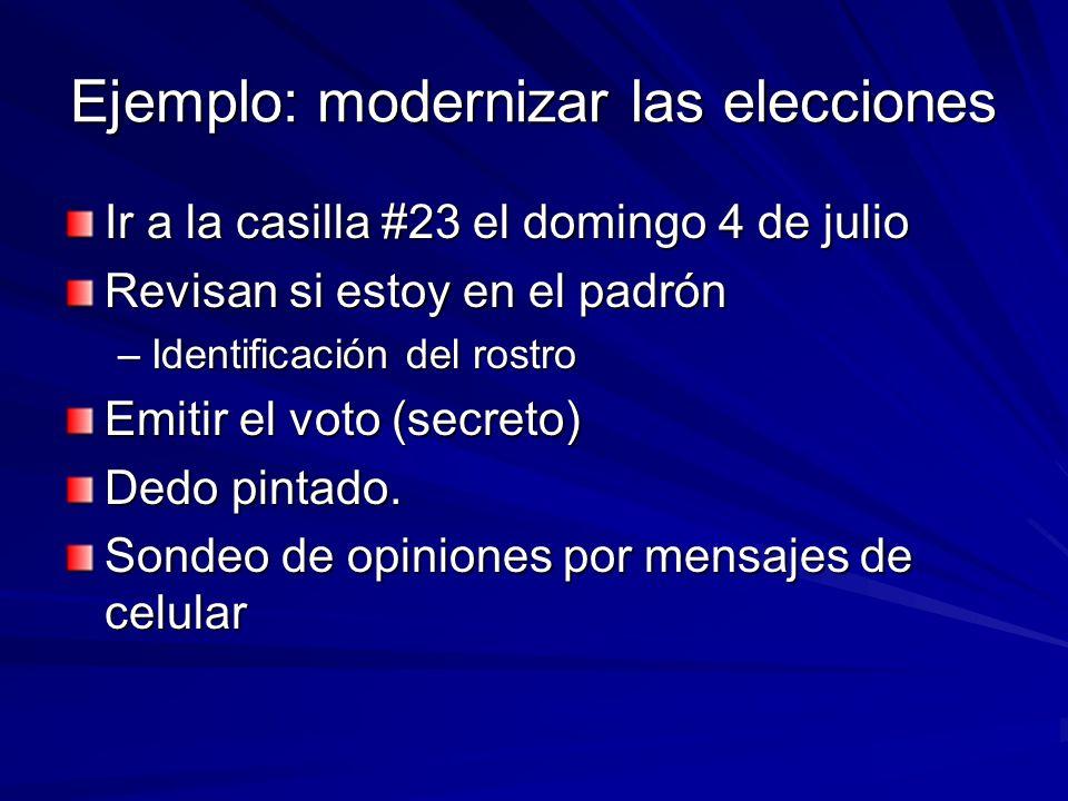 Ejemplo: modernizar las elecciones Ir a la casilla #23 el domingo 4 de julio Revisan si estoy en el padrón –Identificación del rostro Emitir el voto (