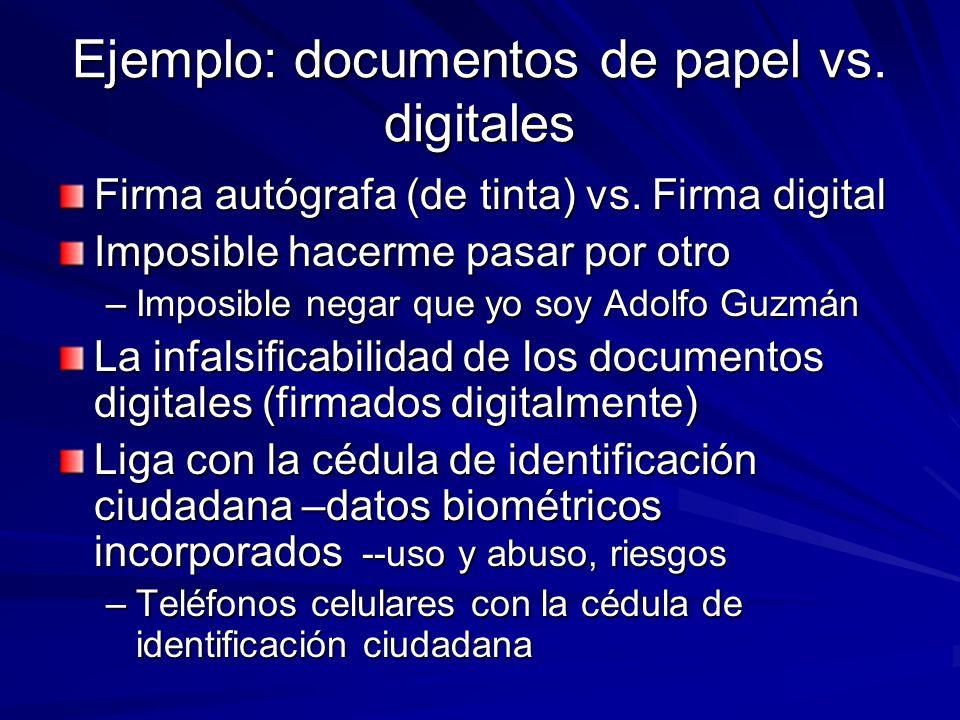 Ejemplo: documentos de papel vs. digitales Firma autógrafa (de tinta) vs. Firma digital Imposible hacerme pasar por otro –Imposible negar que yo soy A