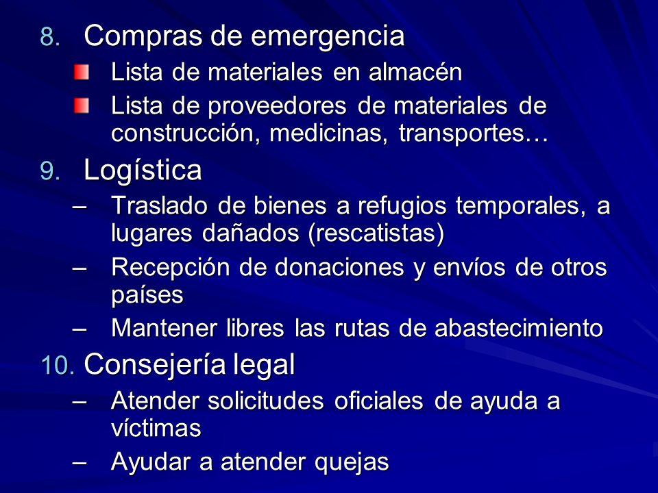 8. Compras de emergencia Lista de materiales en almacén Lista de proveedores de materiales de construcción, medicinas, transportes… 9. Logística –Tras