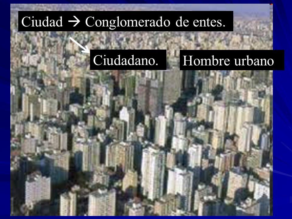 Ciudad Conglomerado de entes. Ciudadano. Hombre urbano