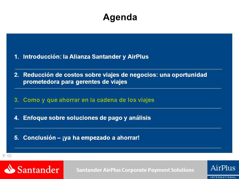 Santander AirPlus Corporate Payment Solutions P. 10 Agenda 1.Introducción: la Alianza Santander y AirPlus 2.Reducción de costos sobre viajes de negoci