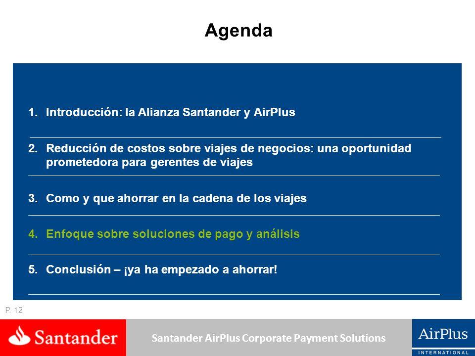 Santander AirPlus Corporate Payment Solutions P. 12 Agenda 1.Introducción: la Alianza Santander y AirPlus 2.Reducción de costos sobre viajes de negoci