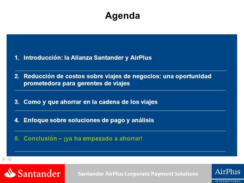Santander AirPlus Corporate Payment Solutions P. 15 Agenda 1.Introducción: la Alianza Santander y AirPlus 2.Reducción de costos sobre viajes de negoci