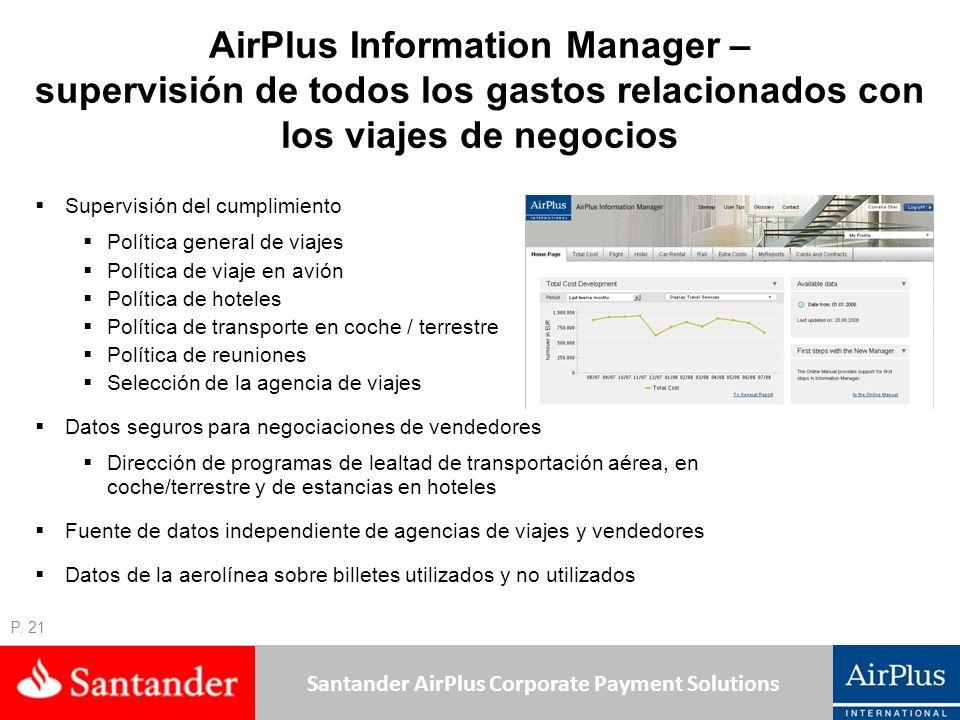 Santander AirPlus Corporate Payment Solutions P. 21 AirPlus Information Manager – supervisión de todos los gastos relacionados con los viajes de negoc