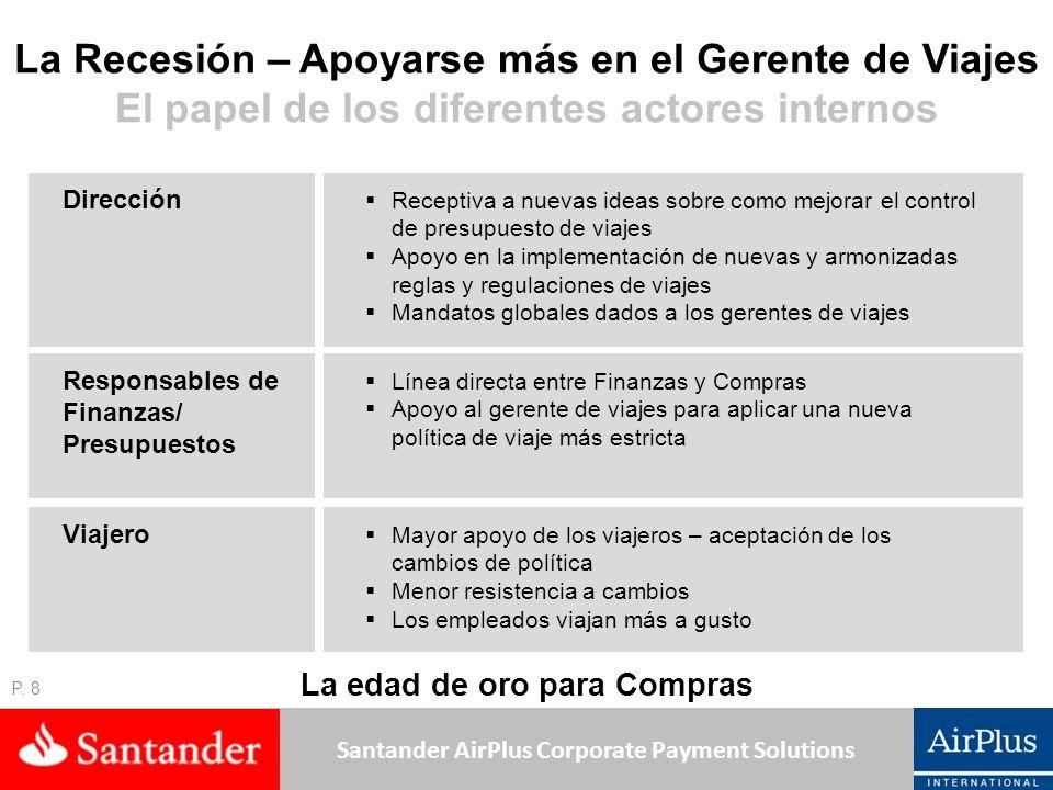Santander AirPlus Corporate Payment Solutions La Recesión – Apoyarse más en el Gerente de Viajes El papel de los diferentes actores internos P. 8 Rece