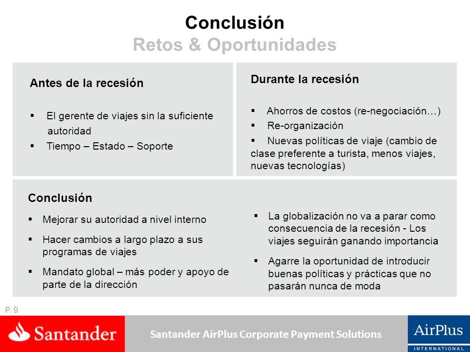 Santander AirPlus Corporate Payment Solutions Conclusión Retos & Oportunidades Antes de la recesión El gerente de viajes sin la suficiente autoridad Tiempo – Estado – Soporte P.