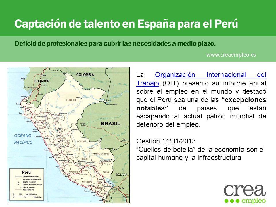 Captación de talento en España para el Perú Déficid de profesionales para cubrir las necesidades a medio plazo. www.creaempleo.es La Organización Inte